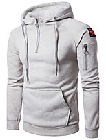 Men's Going out Casual/Daily Simple Hoodie Solid Hooded Inelastic Cotton Long Sleeve Fall Winter