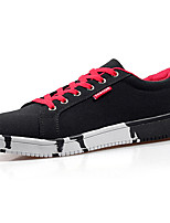 Men's Sneakers Comfort Spring Fall PU Casual Outdoor Lace-up Flat Heel Black/Red Blue White Flat