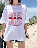 Tee-shirt Femme,Lettre Décontracté / Quotidien simple Manches Courtes Col Arrondi Coton