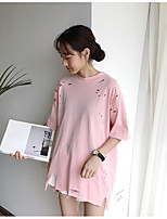 Women's Casual/Daily Simple T-shirt,Solid Round Neck Half Sleeves Cotton Linen