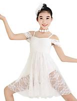Ballet Robes Femme Enfant Spectacle Élastique Elasthanne Dentelle Lycra Plissé Paillette Sans manche Taille moyenne Robes Coiffures