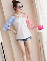 Women's Casual/Daily Simple T-shirt,Solid Print Halter 3/4 Length Sleeves Cotton