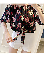 Women's Casual/Daily Simple Blouse,Print Off Shoulder Half Sleeves Polyester