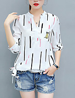 Women's Casual/Daily Simple Street chic Spring Fall Shirt Print V Neck 3/4 Length Sleeves