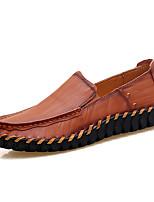 Для мужчин обувь Натуральная кожа Кожа Весна Осень Удобная обувь Обувь для дайвинга Мокасины и Свитер Комбинация материалов Назначение