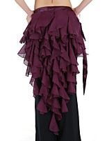 Belly Dance Hip Scarves Women's Performance Stretch Chiffon Cascading Ruffle 1 Piece Hip Scarf