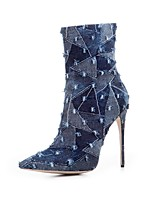Women's Boots Cowboy / Western Boots Fashion Boots Fall Winter Denim Party & Evening Stiletto Heel Navy Blue Light Blue 4in-4 3/4in
