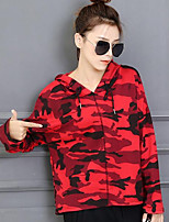 Women's Casual/Daily Simple Shirt,Print Hooded Long Sleeves Cotton Others