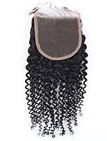 4x4kinky enrugada de renda com fecho frontal remy cabelo humano cabelo de fecho 8-20 polegadas