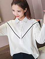 Women's Casual/Daily Simple Spring Shirt,Solid Shirt Collar Long Sleeves Cotton Medium