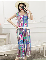 Women's Casual/Daily Simple Summer Tank Top Pant Suits,Print U Neck Sleeveless