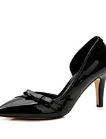 Women's Heels Comfort Patent Leather Fall Winter Party & Evening Dress Bowknot Beige Black 3in-3 3/4in