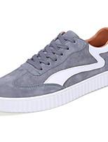 Herren Sneakers Komfort Frühling Herbst PU Normal Schnürsenkel Flacher Absatz Schwarz Grau Blau Flach