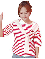 Women's Going out Street chic T-shirt,Striped Color Block Round Neck Short Sleeves Others
