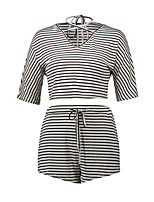Women's Sports Going out Casual/Daily Active Street chic All Seasons T-shirt Skirt Suits,Striped V Neck Half Sleeves Micro-elastic