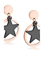 Per donna Orecchini a bottone Orecchini Set Zirconi Di tendenza stile della Boemia Acciaio al titanio Placcato in oro Circolare A stella