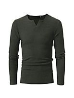 Men's Casual/Daily Simple Regular Pullover,Solid V Neck Long Sleeves Polyester Spring Fall Medium Micro-elastic