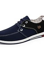 Men's Sneakers Comfort Spring Fall PU Casual Outdoor Lace-up Flat Heel Blue Gray Black Flat