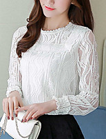 Women's Casual/Daily Simple Fall Blouse,Solid Round Neck Long Sleeves Cotton