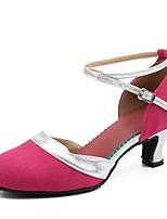 Women's Modern Suede Heels Indoor Buckle Cuban Heel Ruby Black/Gold Fuchsia 2 - 2 3/4