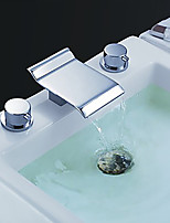 Modern Style High Quality Widespread Waterfall with  Brass Valve Two Handles Three Holes for  Chrome , Bathroom Sink Faucet