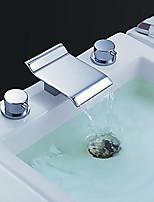 Style moderne Haute qualité Diffusion large Jet pluie with  Soupape en laiton Deux poignées trois trous for  Chrome , Robinet lavabo