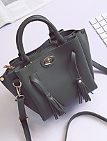 Women Bags All Seasons PU Tote Tassel for Wedding Event/Party Casual Formal Office & Career Green Black Pale Pink Gray