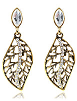 Drop Earrings Women's Fashion Leaf Hollow out Style 2Colors Zircon Earrings For Office & Career Party Daily Movie Jewelry