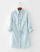 Camicia Da donna Per uscire Casual Sensuale Semplice Moda città Estate Autunno,Tinta unita Colletto Cotone Manica lungaSottile Medio