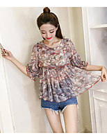 Women's Casual/Daily Cute Blouse,Solid Floral Round Neck Half Sleeves Polyester