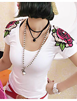 Women's Casual/Daily Sexy T-shirt,Solid Floral Print Deep U Short Sleeves Cotton