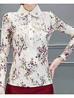 Для женщин На каждый день Блуза Воротник-стойка,Простое Цветочный принт С принтом Длинный рукав,Другое