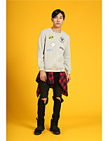 HEARTSOUL Men's Sports Holiday Going out Casual/Daily Simple Street chic Punk & Gothic Sweatshirt Print Oversized Round Neck Micro-elasticCotton