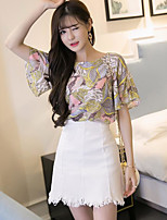 Women's Casual/Daily Simple Fall Blouse Skirt Suits,Leaf Round Neck Short Sleeve
