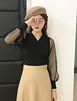 Women's Casual/Daily Simple Blouse,Polka Dot V Neck Long Sleeves Polyester