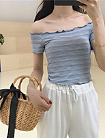 Women's Going out Casual/Daily Sexy Cute Summer T-shirt,Striped Boat Neck Short Sleeves Cotton Medium