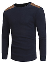 cheap -Men's Casual/Daily Work Long Pullover,Patchwork Round Neck Long Sleeves Polyester Spring Fall Thick Micro-elastic