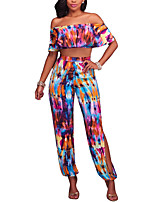 Women's Holiday Going out Club Simple Sexy Boho Spring Summer T-shirt Pant SuitsColor Block Split Boat Neck Short SleeveBackless Ruffle
