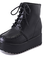 Women's Boots Comfort PU Fall Casual Lace-up Flat Heel Black Flat