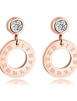 Korean version titanium steel gold plating rose gold Roman numerary hollow round single ear nail earring nail earrings for female anti - allergy