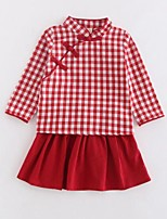 Girls' Plaid Vintage Sets,Cotton Spring Fall Long Sleeve Clothing Set