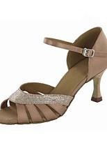 Damer Latin Silke Sandaler Optræden Spænde Stilethæle Guld Sort Lilla Mandel 7,9 - 9,5 cm Kan tilpasses