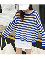 Women's Going out Simple T-shirt,Striped Round Neck Long Sleeves Cotton