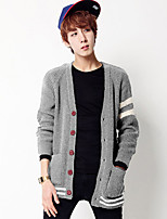 Men's Going out Casual/Daily Regular Cardigan,Solid V Neck Long Sleeves Polyester Spandex Others Spring Fall Medium Micro-elastic