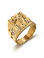 Herre Båndringe Kvadratisk Zirconium Mode Vintage Kvadratisk Zirconium Titanium Stål Firkantet form Smykker Til Bryllup Aftenselskab