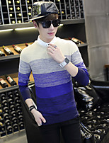 Men's Casual/Daily Simple Short Pullover,Striped Round Neck Long Sleeves Cotton Polyester Others Spring Fall Thin Micro-elastic