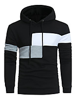 Men's Sports Casual/Daily Simple Hoodie Color Block Hooded Micro-elastic Cotton Acrylic Long Sleeve Fall Winter