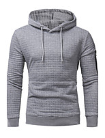 Men's Plus Size Plus Size Going out Casual/Daily Simple Hoodie Solid Cut Out Hooded Micro-elastic Cotton Long Sleeve Fall Winter