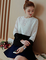 Women's Going out Casual/Daily Simple Blouse,Color Block Round Neck Long Sleeves Cotton