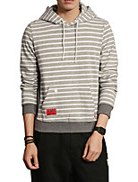 Men's Plus Size Plus Size Casual/Daily Simple Hoodie Striped Stripe Hooded Micro-elastic Cotton Polyester Long Sleeve Spring Fall